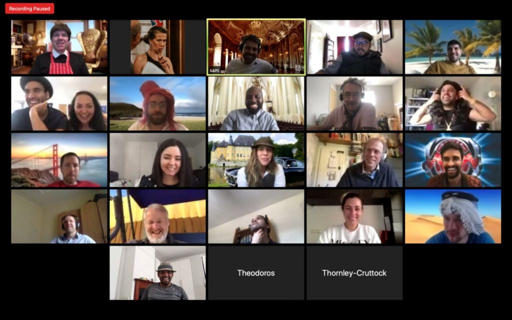 Virtual Murder Mystery guests on a zoom call.