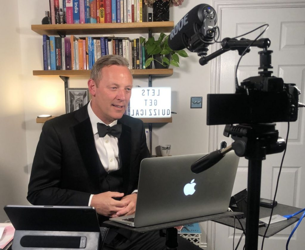Virtual Magician performing on an online event, on a Zoom call. We have a wide range of virtual magicians available to hire for online events.
