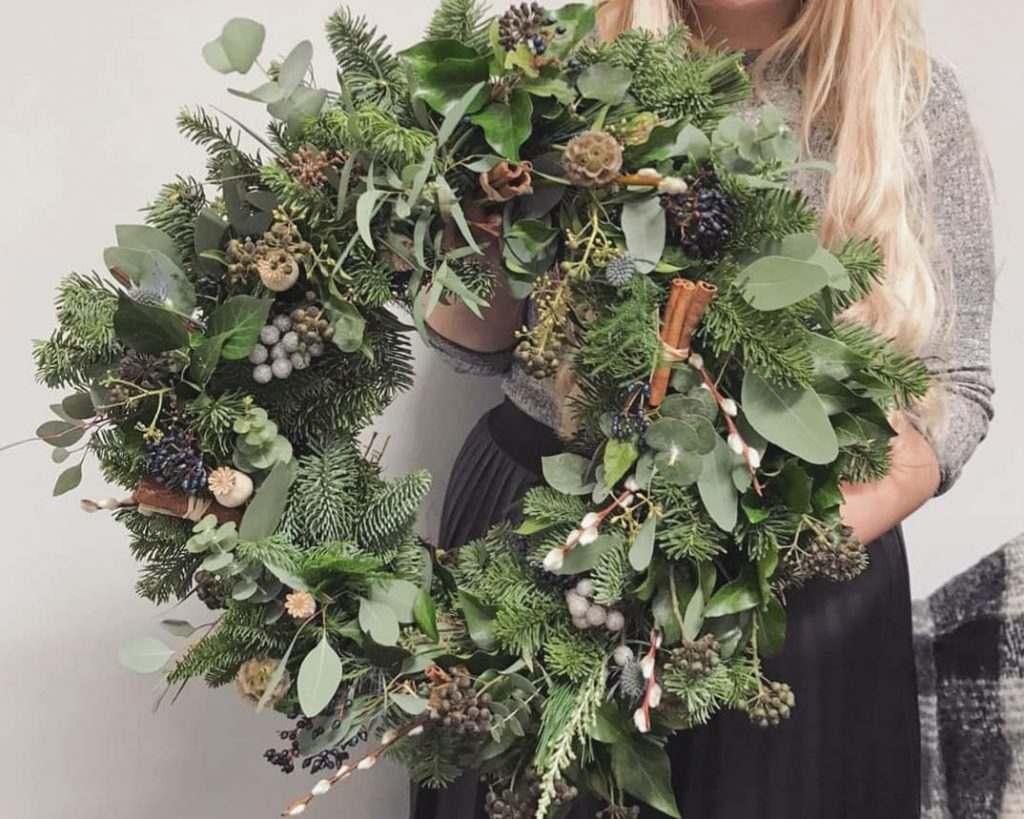 Virtual wreath making workshop finished result