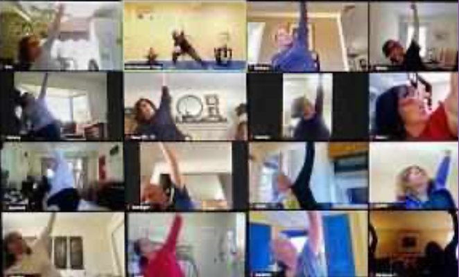 Virtual yoga sessions offered as part of our virtual health and wellbeing services for virtual team building events