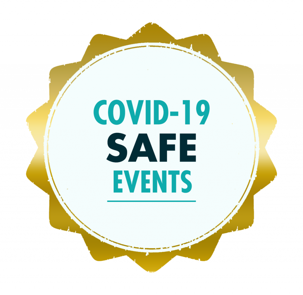 COVID-19 Save Events stamp. We are able to produce and manage events whilst COVID-19 restrictions are in place.