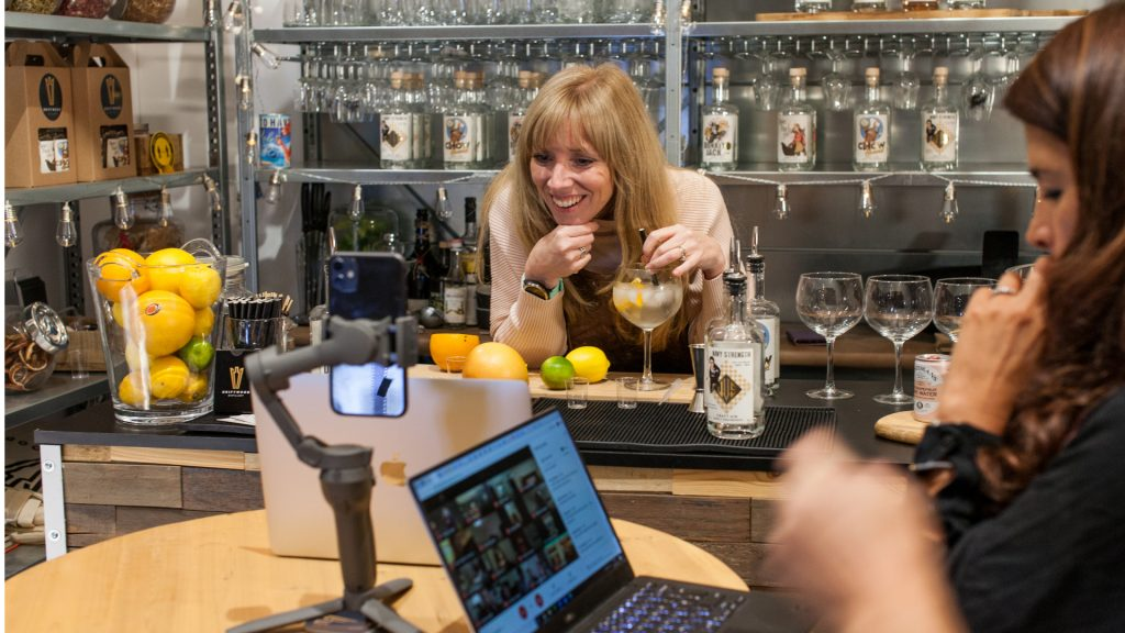 Virtual Entertainment Ideas gin tasting online experience available to book for your virtual Christmas party
