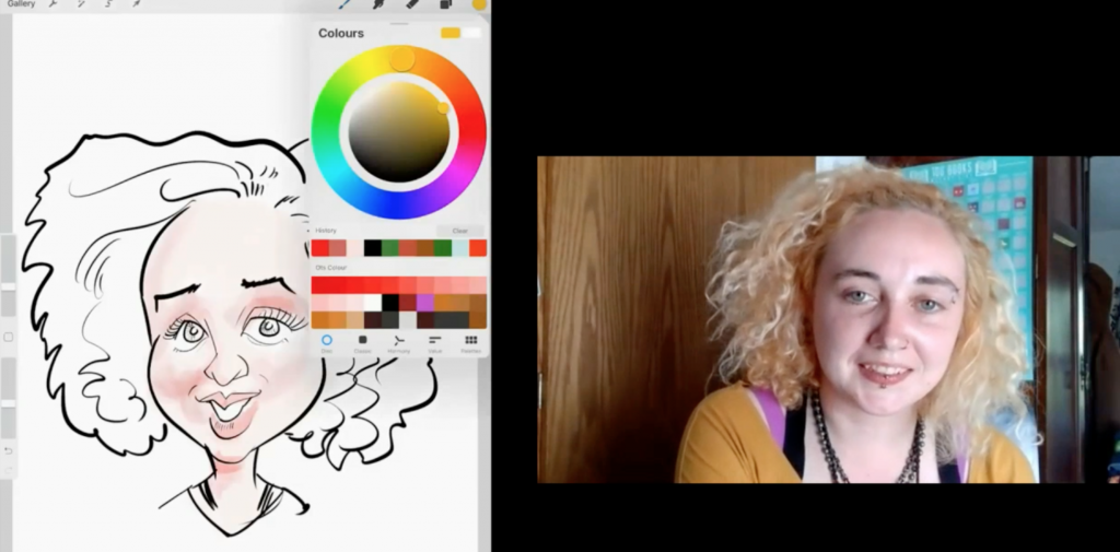 Virtual caricaturist available to book for virtual team building and online team events