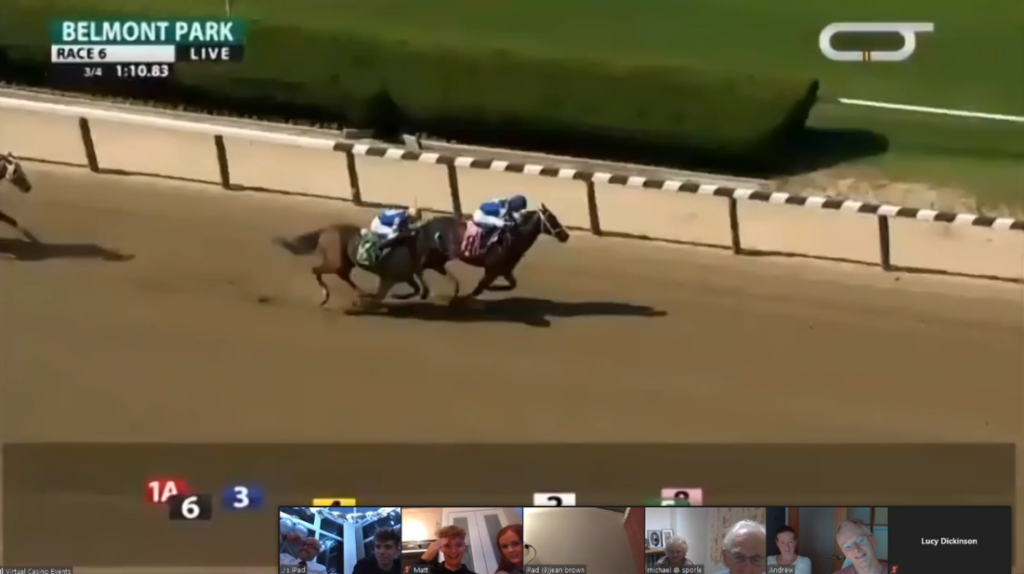 Virtual horse racing experience for online team building events