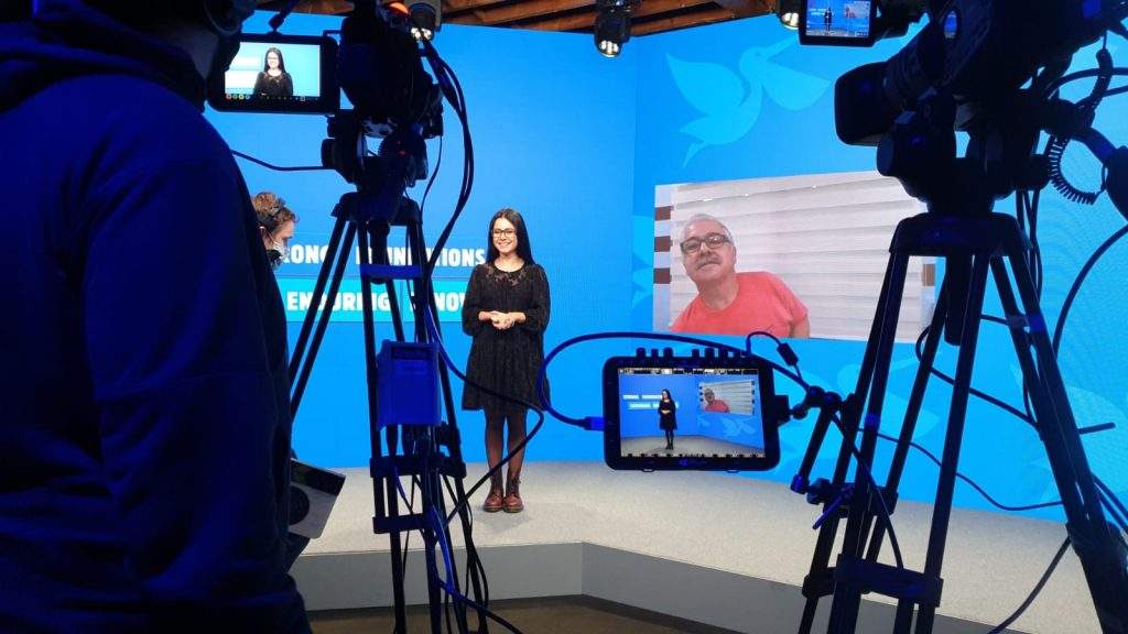 Virtual conference hosted in a TV studio and streamed out to digital attendees