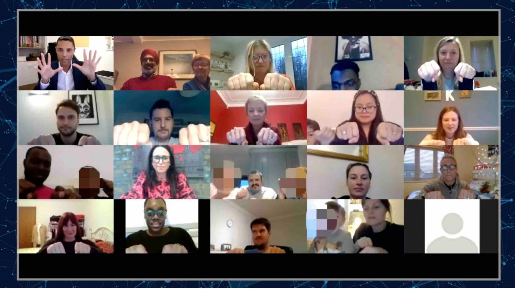 Virtual mentalist performing show over Zoom to virtual team building attendees