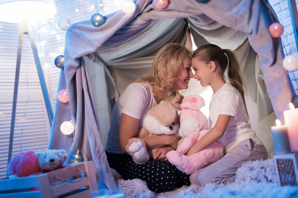 Loved ones Valentine's day fort building activity