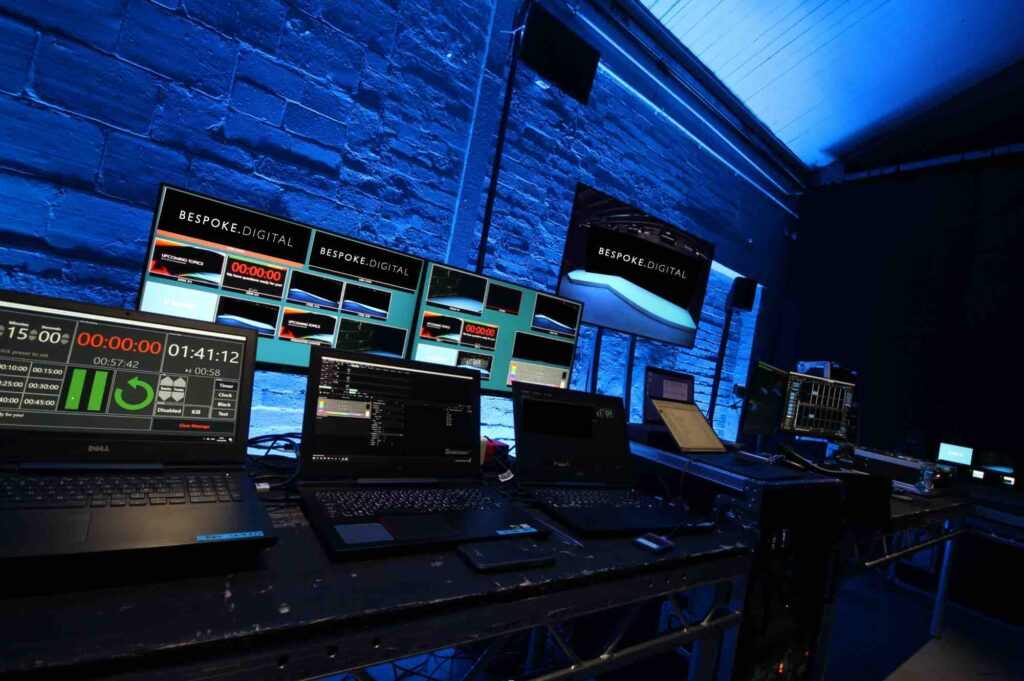 Behind the scenes editing studio using multiple different digital technology services to create this virtual event.