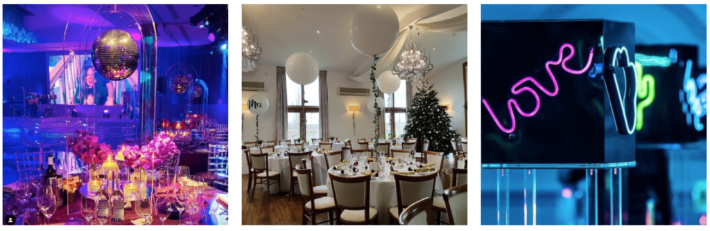 Glitter ball, balloons and neon signs pictured used as alternative wedding table centrepieces.