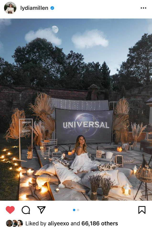 Social media influencer Lydia Millen in her open air cinema she hired for a special event in her garden.