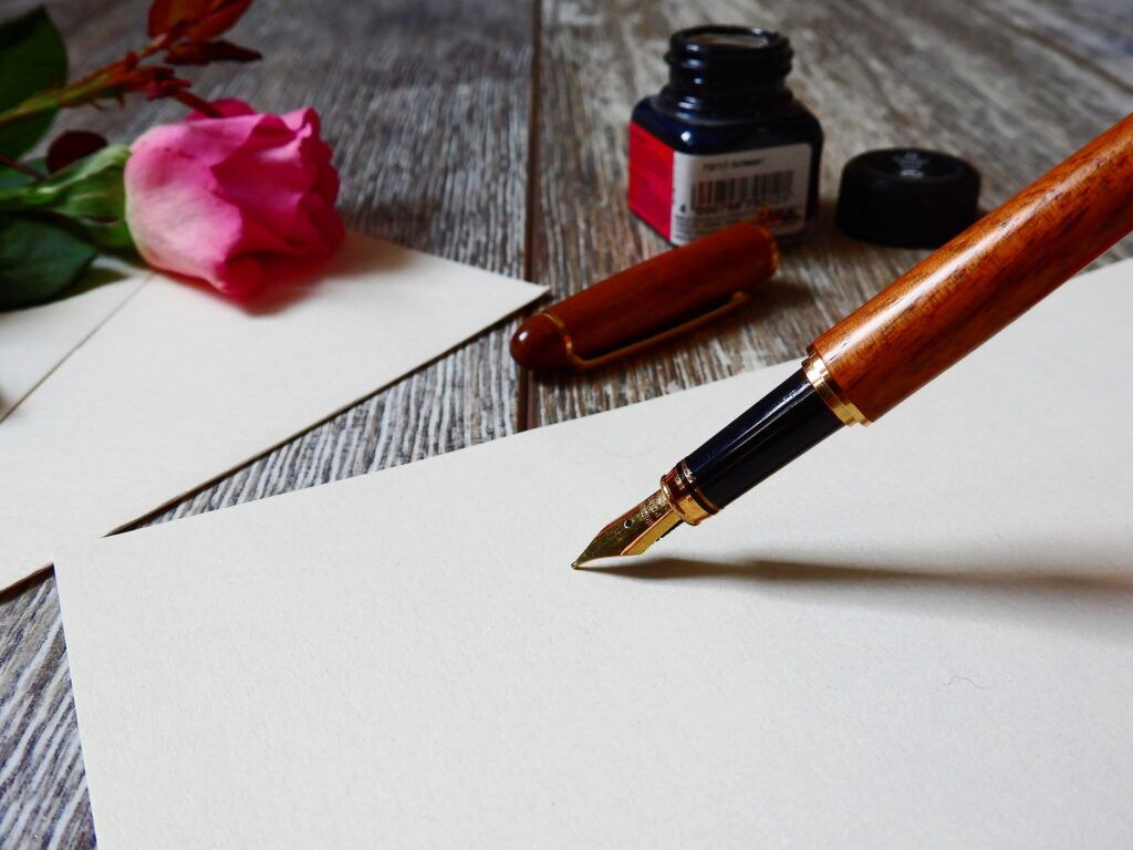Calligraphy pen and ink used for our virtual calligraphy online craft workshop