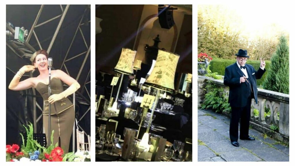 1940's vintage singer on stage, vintage inspired lampshades at gala dinner event and Winston Churchill impersonator all booked for 1940s themed parties.