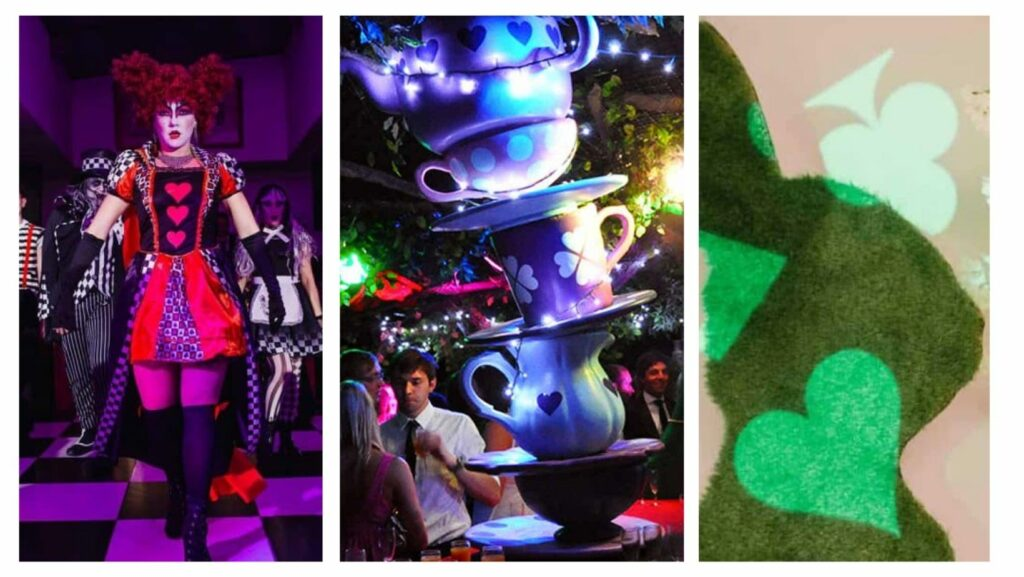 Queen of hearts performer, giant stacked tea cups and topiary rabbit with playing card projection over it all use for Alice in Wonderland themed parties
