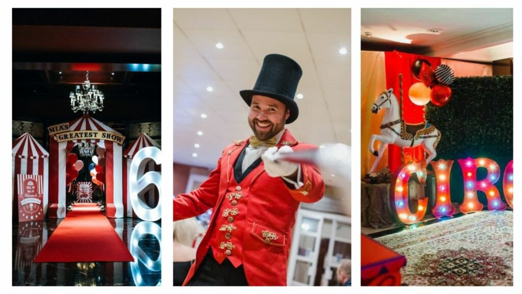 Circus themed entrance way, ringmaster entertainment and circus backdrop hired for themed party