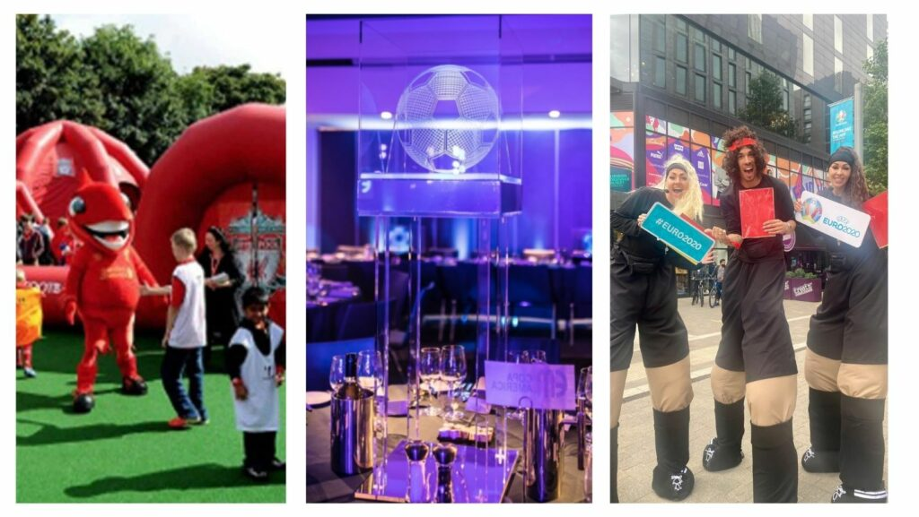 Collage of different football themed party options including inflatable football pitch with mascot, football themed centrepieces and stilt walking referee entertainment.