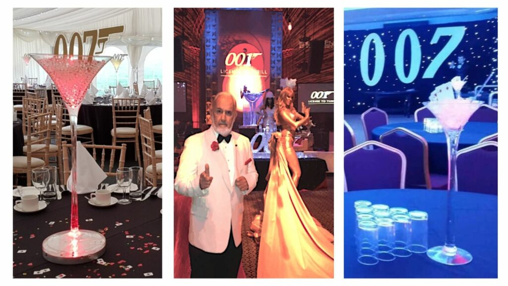 Collage of James Bond themed party props, table centrepiece martini glasses and James Bond Entertainment.