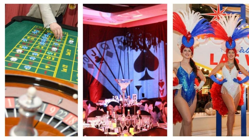 Roulette table, venue decorations and showgirls booked as part of our Las Vegas Themed party services.