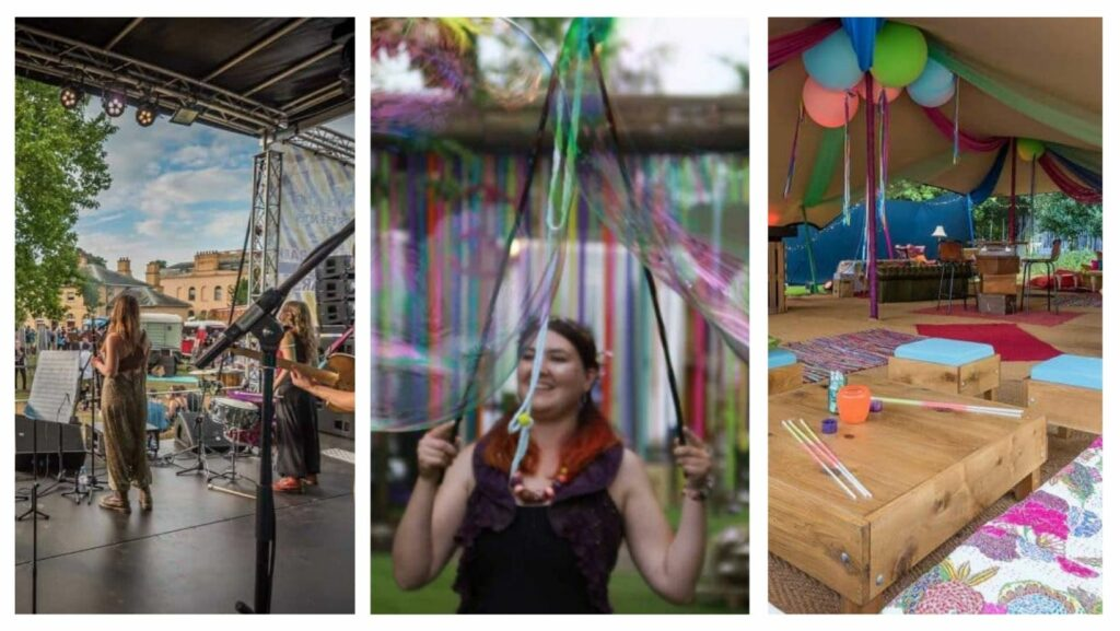 Collage of different images from festival themed party including live band on stage, giant bubble artist walking around festival and festival tent decorated in bright colours.