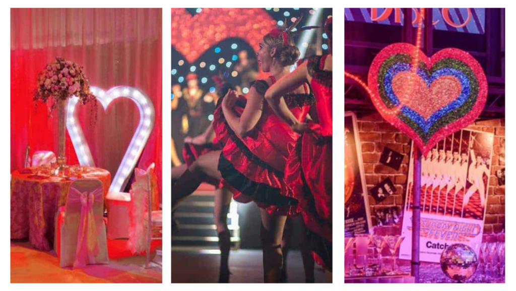 Giant LED heart decorations, can can dancers and neon heart props used to decorate Love themed parties and events