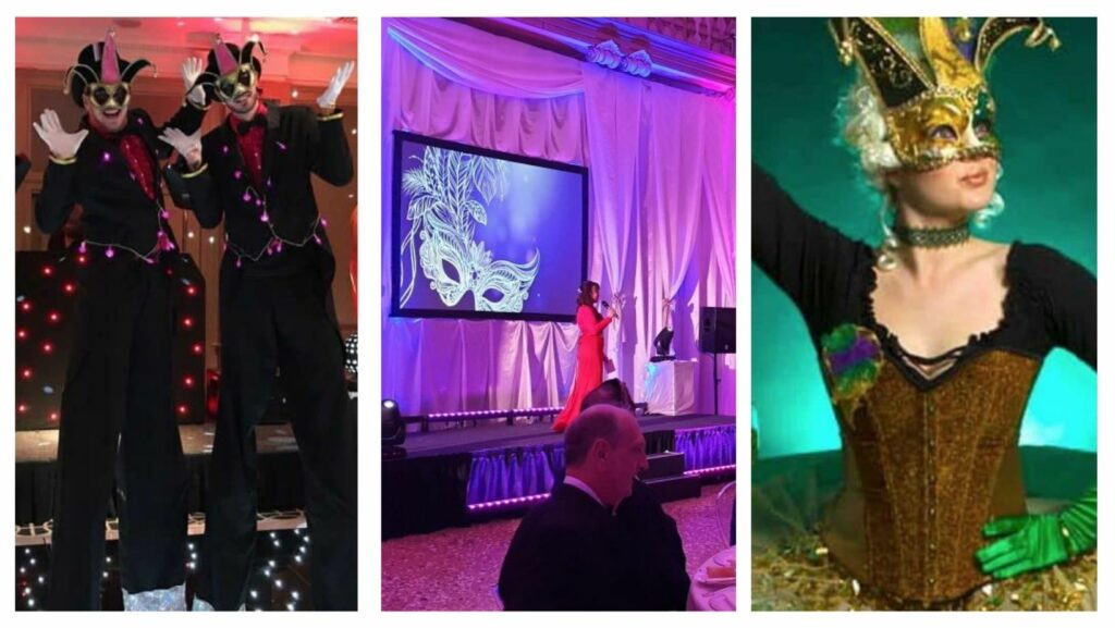 Masquerade themed party including jester stilt walkers, masquerade projections and masquerade themed meet and greets.