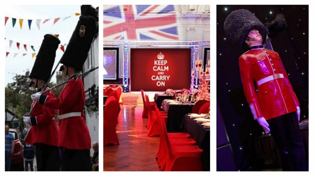 Collage of Queens guard stilt walkers, red white and blue venue dressing for British themed parties and queens guard party prop