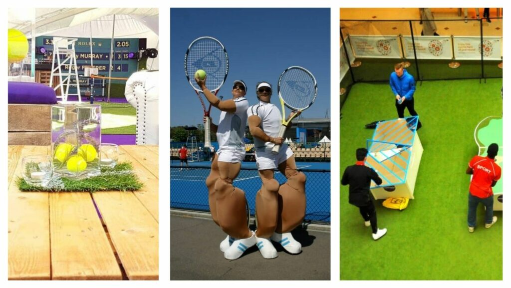 Collage of various different tennis themed party services including stilt walking giant tennis players, Wimbledon theming in marquee and unique table tennis tables.