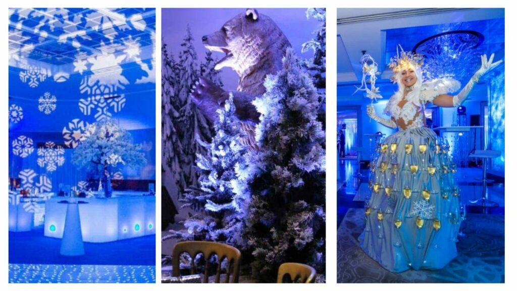 Snowflake projections, polar bear and snow covered tree and stilt walking winter fairy serving champagne all booked for winter wonderland themed parties.