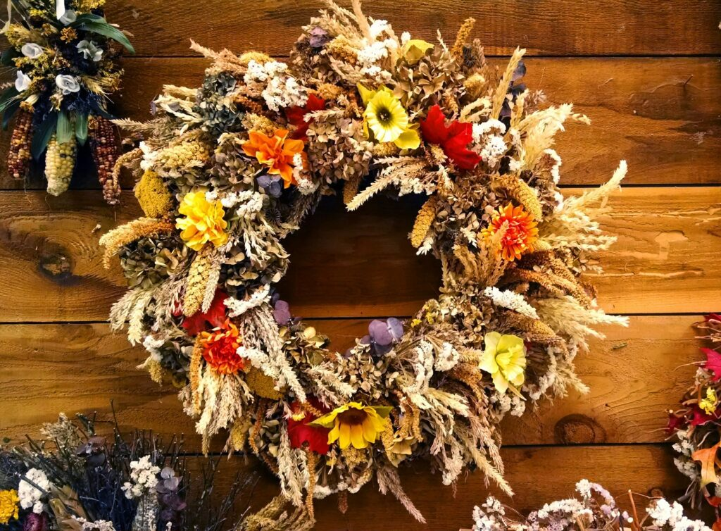 Dried flowers autumn wreath made in our Autumn wreath making workshop.