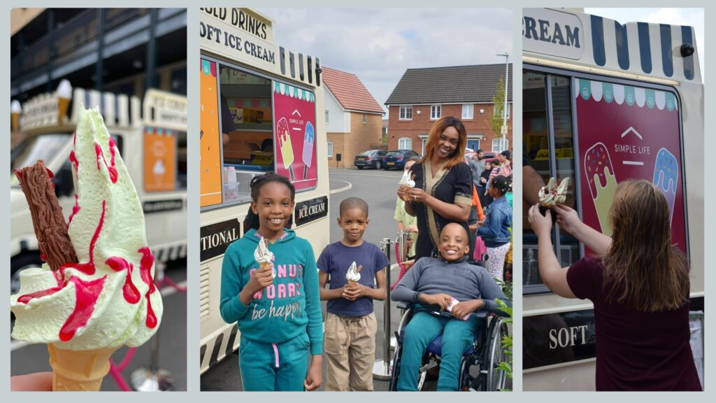 Community Event for corporate brand simple life run by our event management team. Tenants of Simple Life Homes holding up their ice creams and smiling.
