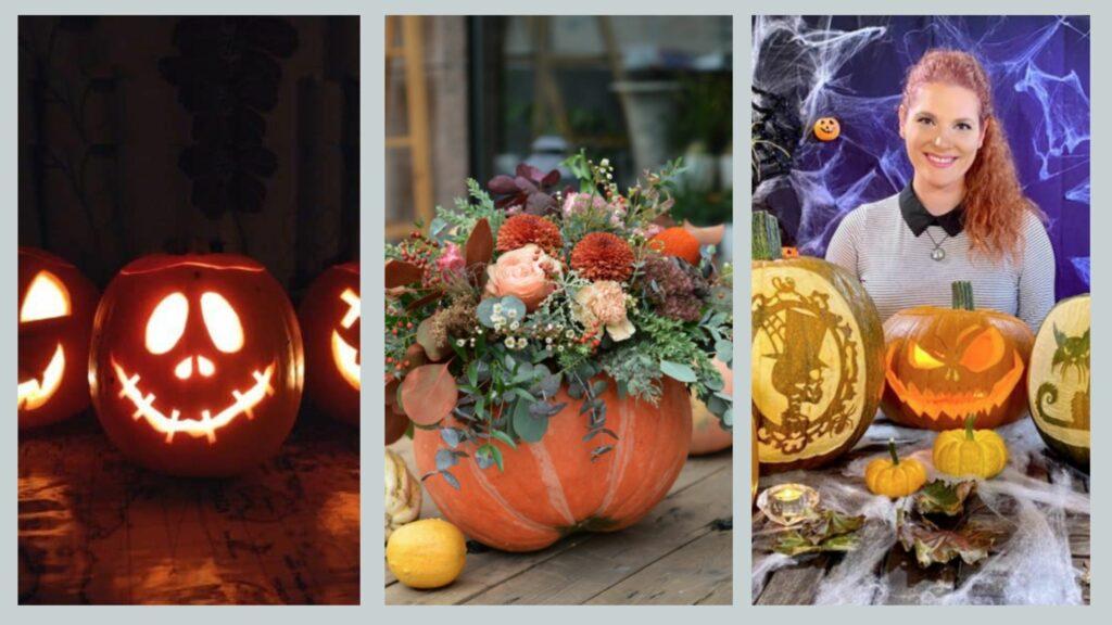 Pumpkin carved faces, pumpkin flower arrangement and pumpkin workshop, all available to book for Halloween pumpkin party theme.