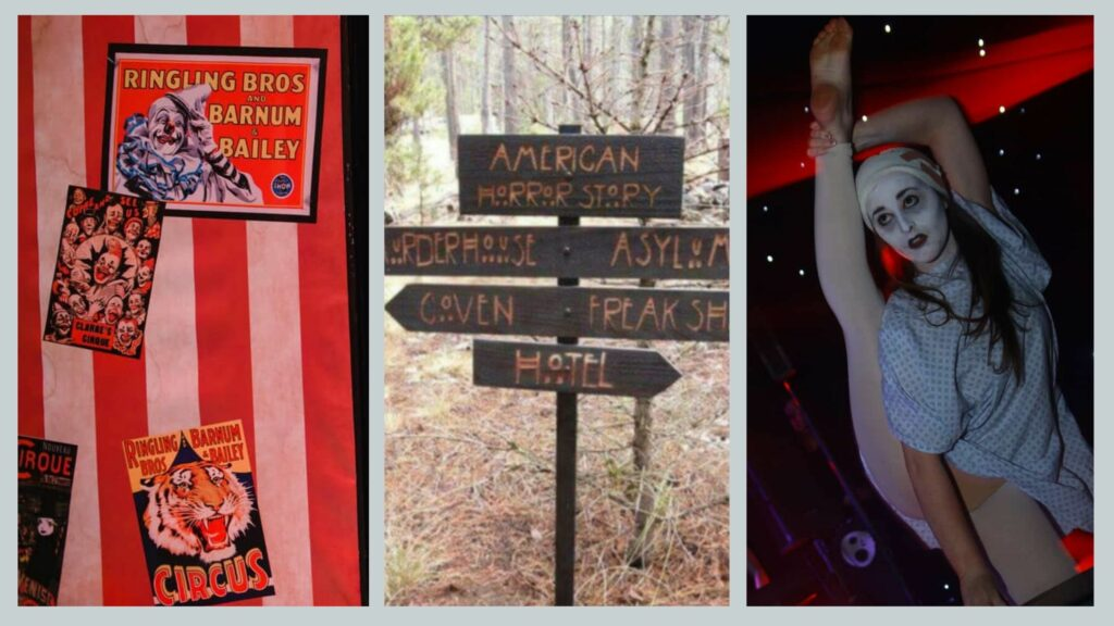 Freak show posters, American horror story signage and asylum contortionists booked for American Horror Story Halloween party theme.