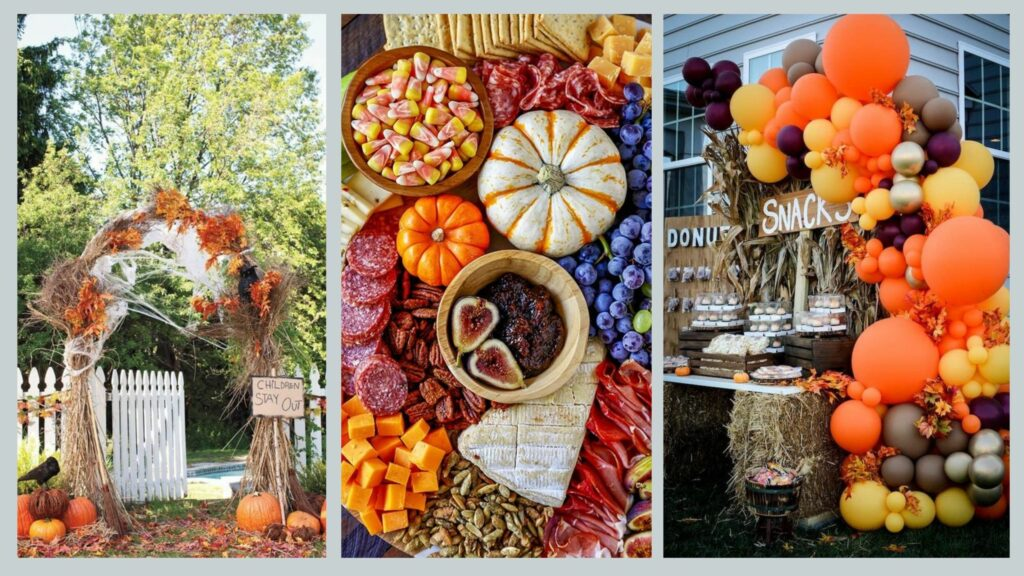 Harvest festival decorations, grazing board and snack station for alternative Halloween themed party idea.