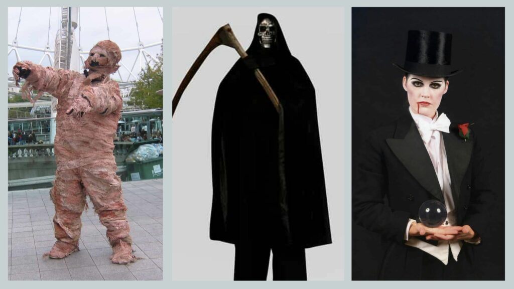 Mummy, Grim reaper and Dracula costumes to wear for Halloween party theme monster mash.