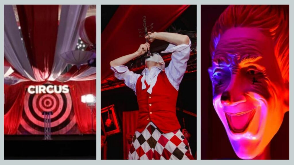 Venue draping, sword swallowers and creepy clown props used for carnival Halloween party theming.