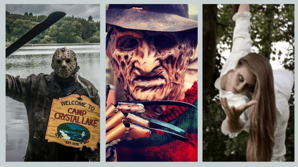 Horror movie characters available to book for horror film themes Halloween parties.