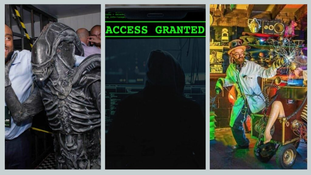 Alien monster character, escape room digital display and mad scientist performers available to book for Science experiment gone wrong Halloween party theme.
