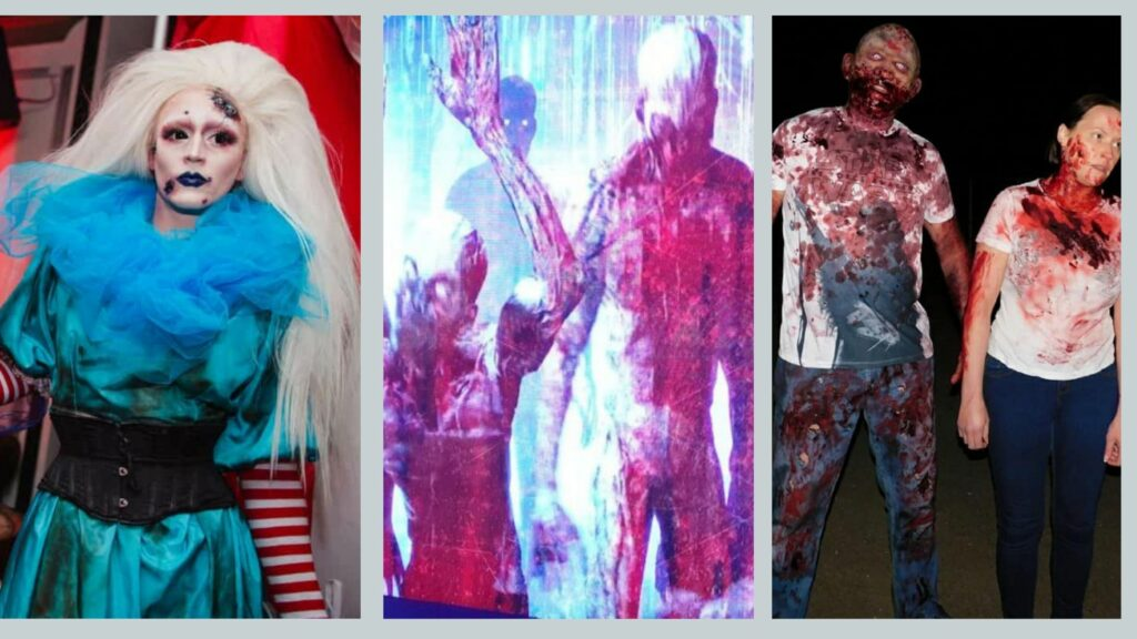 Zombie drag queen, zombie projections and walkabout zombie entertainment booked for zombie apocalypse themed halloween party.