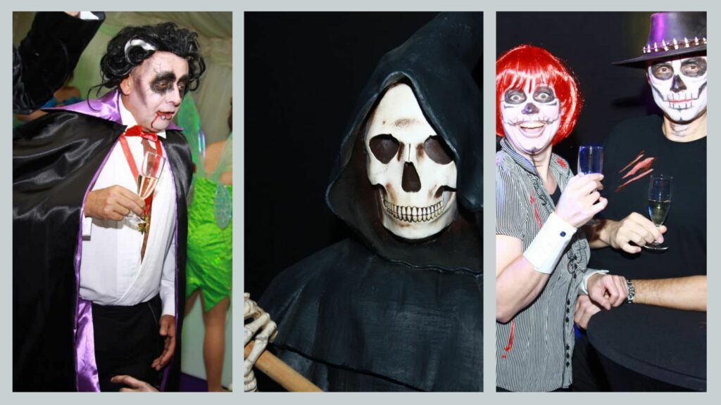 Guests dressed up in different undead Halloween costumes for Halloween themed party.