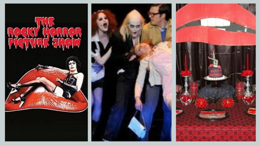 Rocky horror picture show, poster character and table full of treats for Halloween themed event.