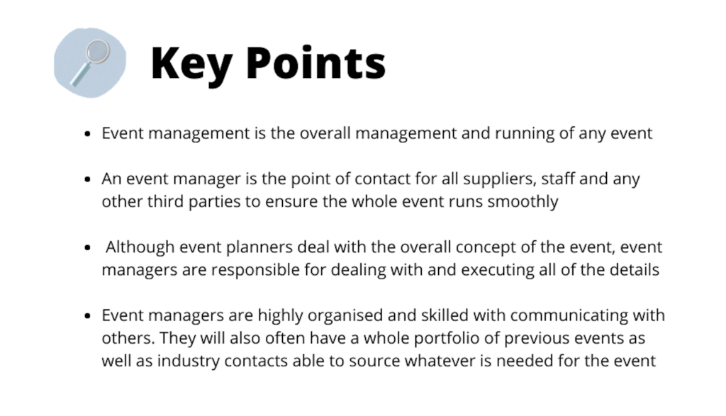 Key points as to why booking an event manager is more beneficial than booking an event planner.